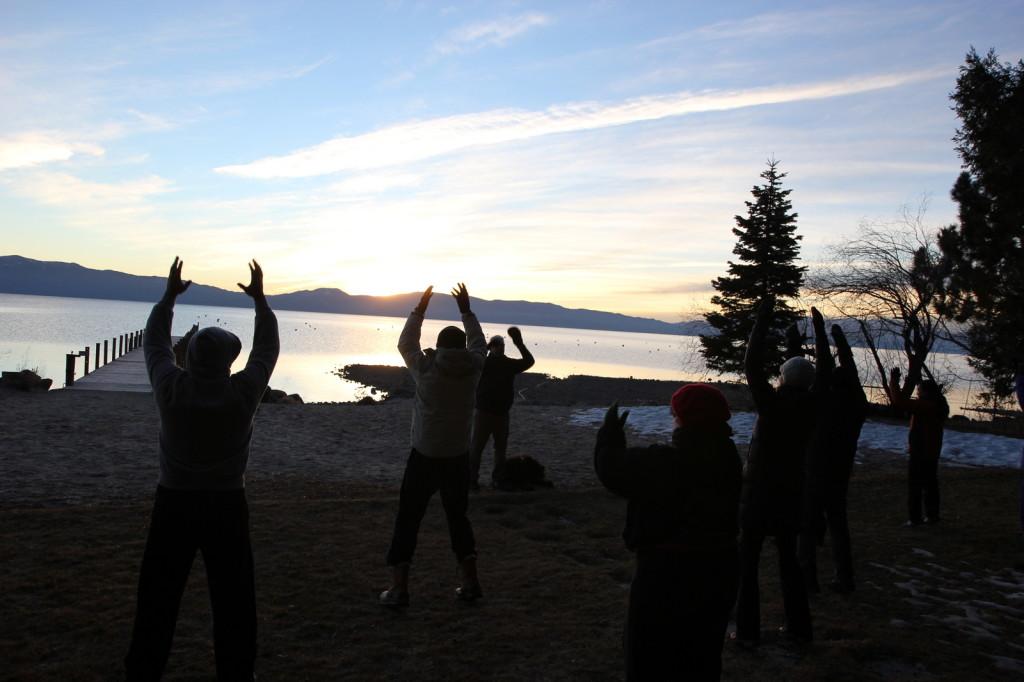 Qingong at Sunrise on the Lake Tahoe shore